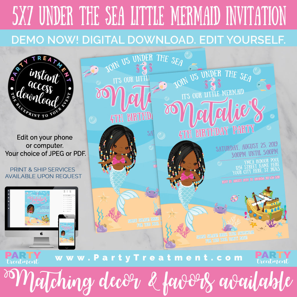 African American Mermaid Birthday Invitation, INSTANT DOWNLOAD