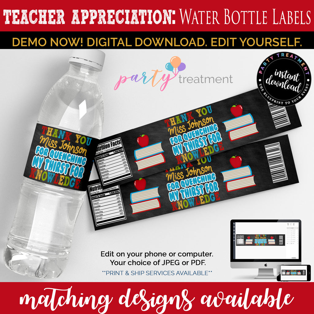 Teacher Appreciation Water Bottle Label, Editable Water bottle label, INSTANT DOWNLOAD, Thirst For Knowledge, Teacher Gift