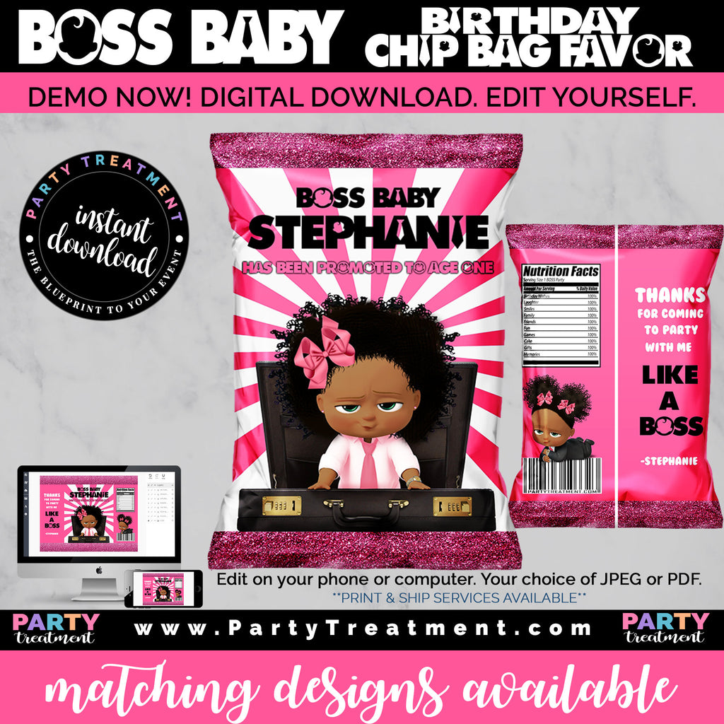 Baby Girl Boss Birthday Chip Bag Favor, African American Boss Girl Birthday Favor, Boss Party, INSTANT DOWNLOAD