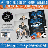 All Star Sports Photo Birthday Invitation, Allstar sports birthday invitation, Football, Basketball, Soccer, Baseball, INSTANT DOWNLOAD
