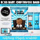 Boss African American Baby chip bag, African American Boss Favor Bag, Baby Boss favors, INSTANT DOWNLOAD