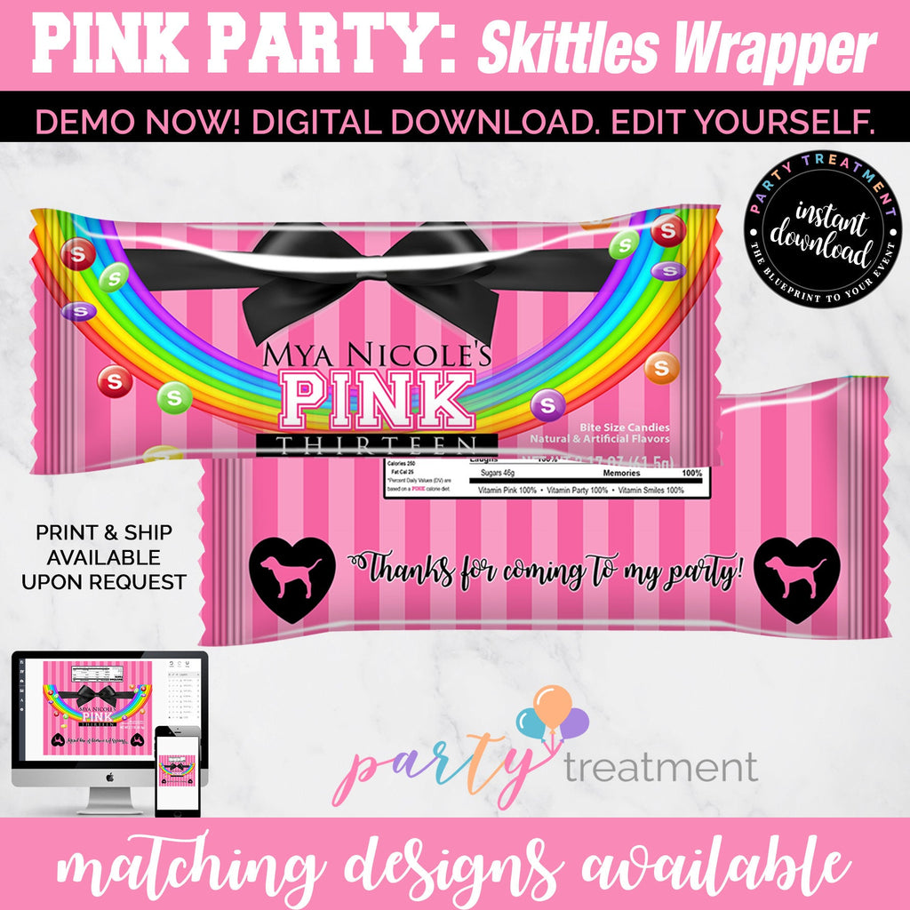Victoria Secret Pink Party Skittles Wrapper, INSTANT DOWNLOAD