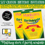 Crayon Birthday Invitation, Crayon Box Birthday Invitation, Crayon Party, Art Party, Art Birthday, School Birthday, INSTANT DOWNLOAD