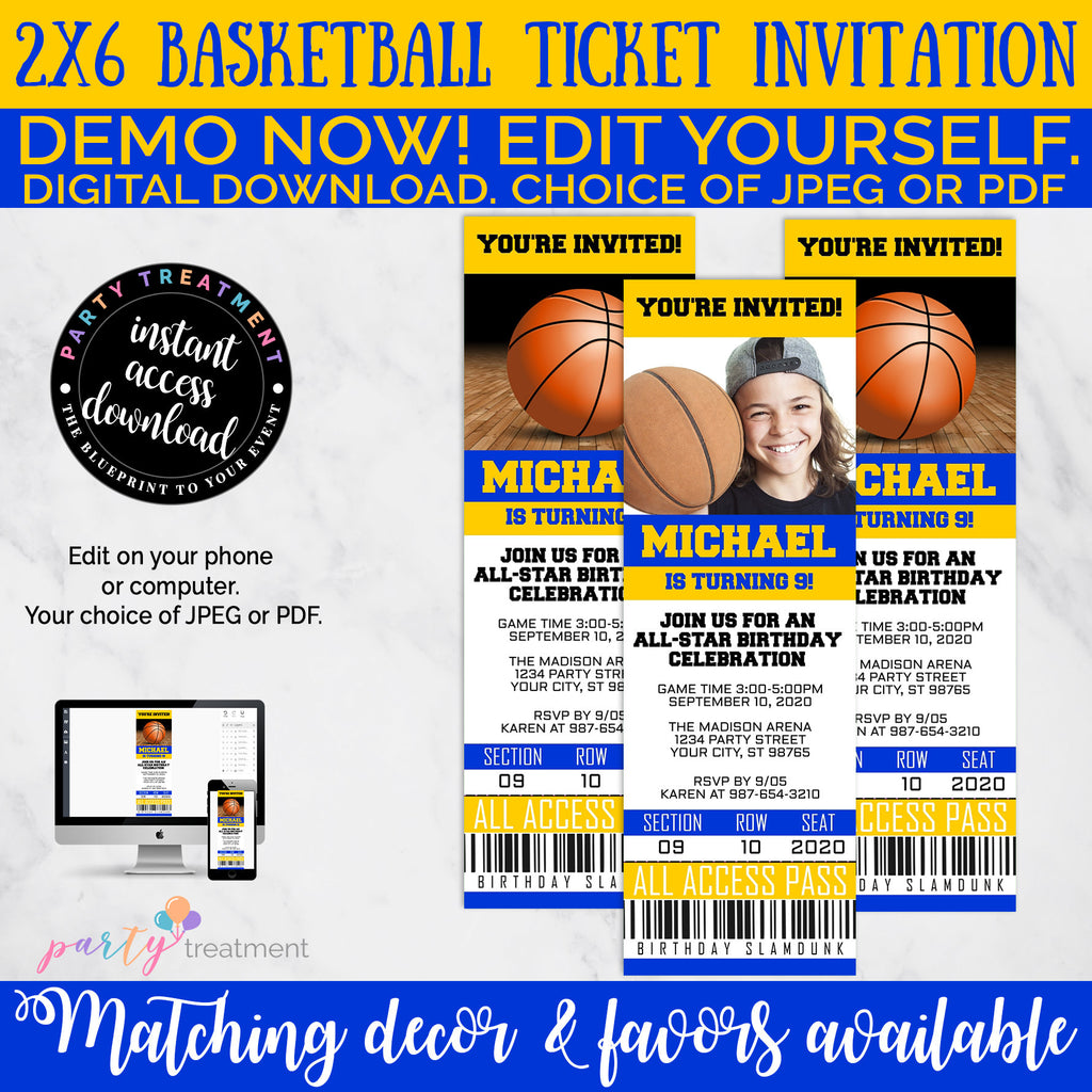 Basketball Birthday Invitation, Basketball Ticket Invitation, Basketball Invitation, Basketball Photo Invitation, INSTANT DOWNLOAD
