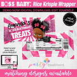 Boss Girl Baby Rice Krispy treat Wrapper, African American Girl Boss rice krispy wrapper, Boss favors, INSTANT DOWNLOAD
