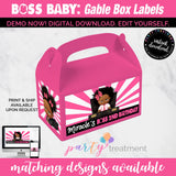 Boss Baby Gable Box label, African American Girl Boss Baby Favor Box Label, Boss Baby Party Favor INSTANT DOWNLOAD
