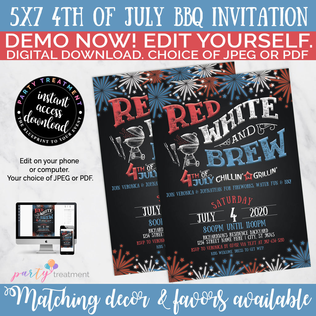 Red White and Brew 4th of July Invitation