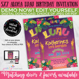 Luau Aloha Birthday Invitation, INSTANT DOWNLOAD