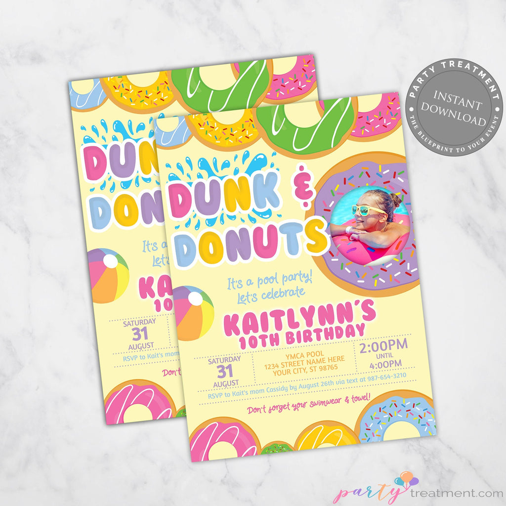 Dunk and Donut Pool Party Invitation, Donut Birthday Invitation, Swim Party Invitation, Donut Party, Summer Party, INSTANT DOWNLOAD