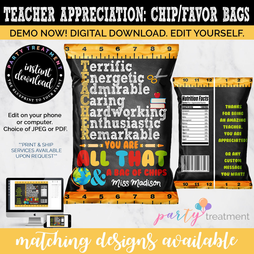 image regarding All That and a Bag of Chips Printable named Trainer Appreciation Chip Bag Like, Trainer Appreciation Printable, Editable Chip Bag, Trainer Appreciation Present, Instantaneous Obtain