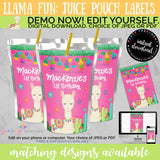 Llama Pink Juice Pouch Labels, INSTANT DOWNLOAD