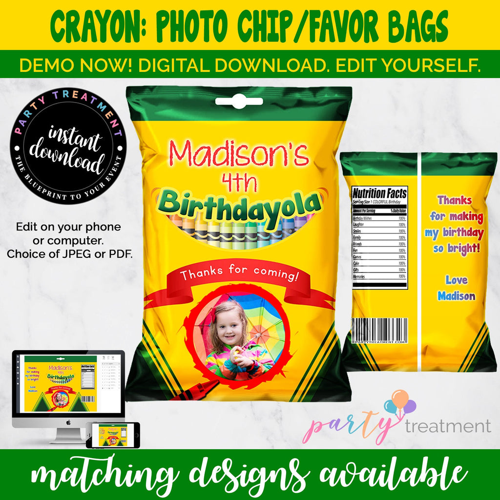 Crayon Birthday Chip Bag, INSTANT DOWNLOAD