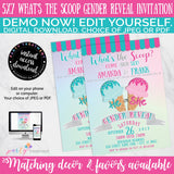 What's the Scoop Ice Cream Gender Reveal Invitation, INSTANT DOWNLOAD