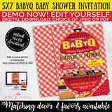 BBQ Baby Shower Invitation, Babyq Baby shower invitation, Bun in the Oven, Burgers on the Grill, Co-ed, Summer baby shower, INSTANT DOWNLOAD