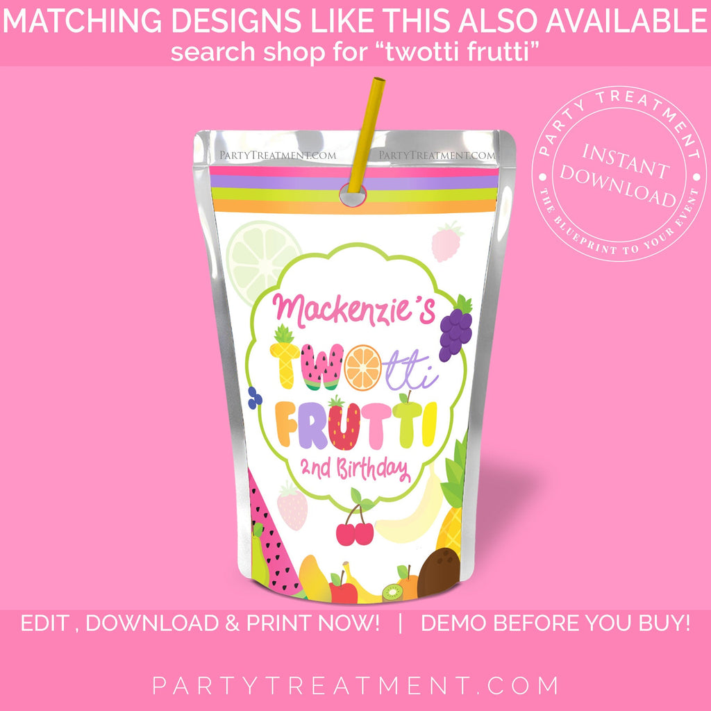 Twotti Frutti birthday Invitation, INSTANT DOWNLOAD