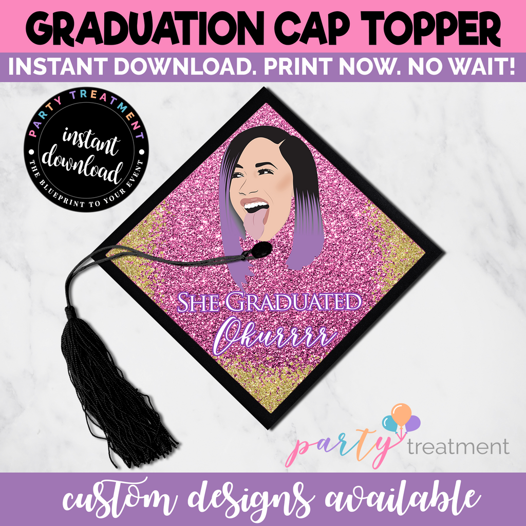 Cardi She Graduated Okurrr Graduation Cap Topper