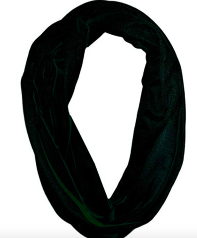 Solid Infinity Polyester Scarf with Hidden Zipper Pocket