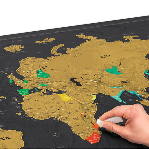Deluxe ScratchOff World Map Freedom Travel Gear