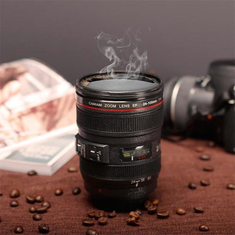 Hand-Crafted Camera Lens Coffee Mug Offer (With Lid) - Freedom Travel Gear