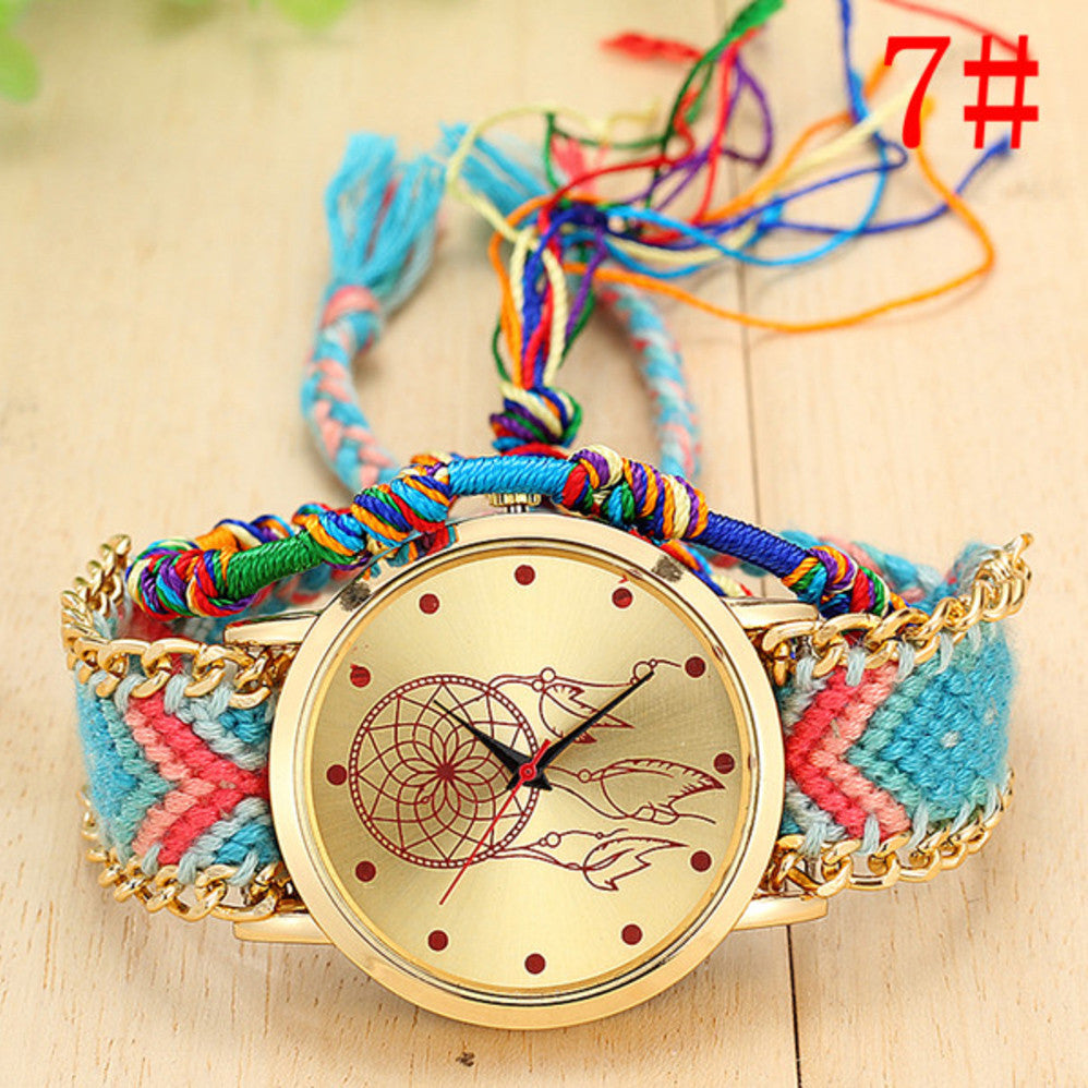 2019 Womens Designer Hand-Knitted Dreamcatcher Friendship Watch Image
