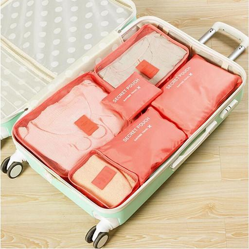 6pc Womens Travel Packing Cubes - Light Red Image