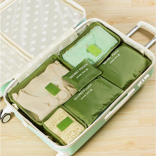 6pc Womens Travel Packing Cubes - Green Apple Image
