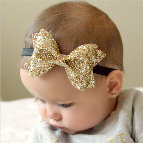 Boutique Sparkly Hair Clip Infant Ribbon Bow Headband Accessory - Freedom Travel Gear