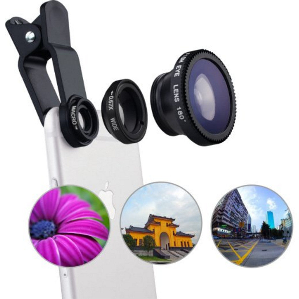 3-in-1 iPhone Telephoto Lens Kit (Wide-angle, Macro & Fish eye) Image