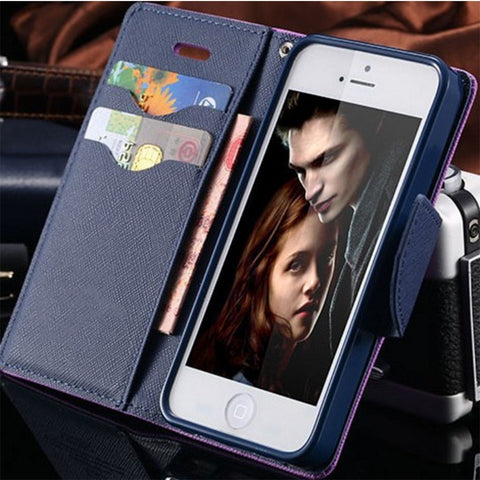 Candy Colour PU Leather iPhone 4/4S Wallet Case