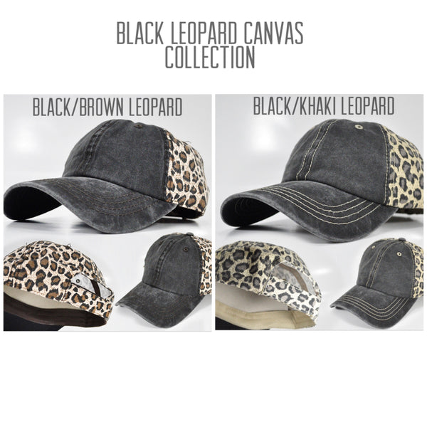 Black | Leopard Canvas Hat | Choose Your Design & Color