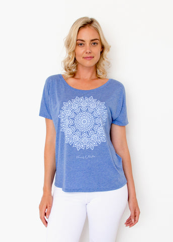 Mandala Tee - Heather Blue