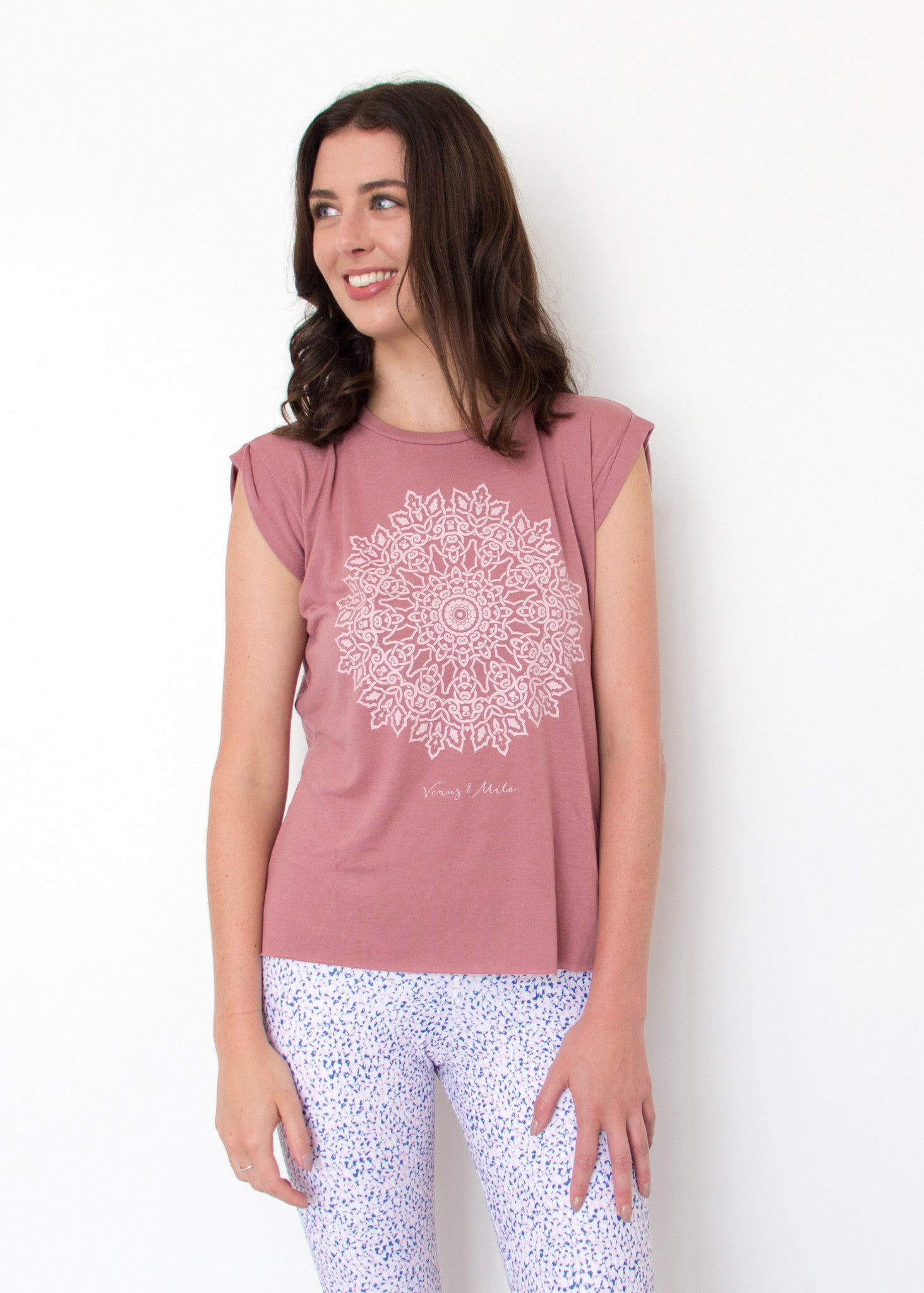 Mandala Muscle Tank - Deep Blush