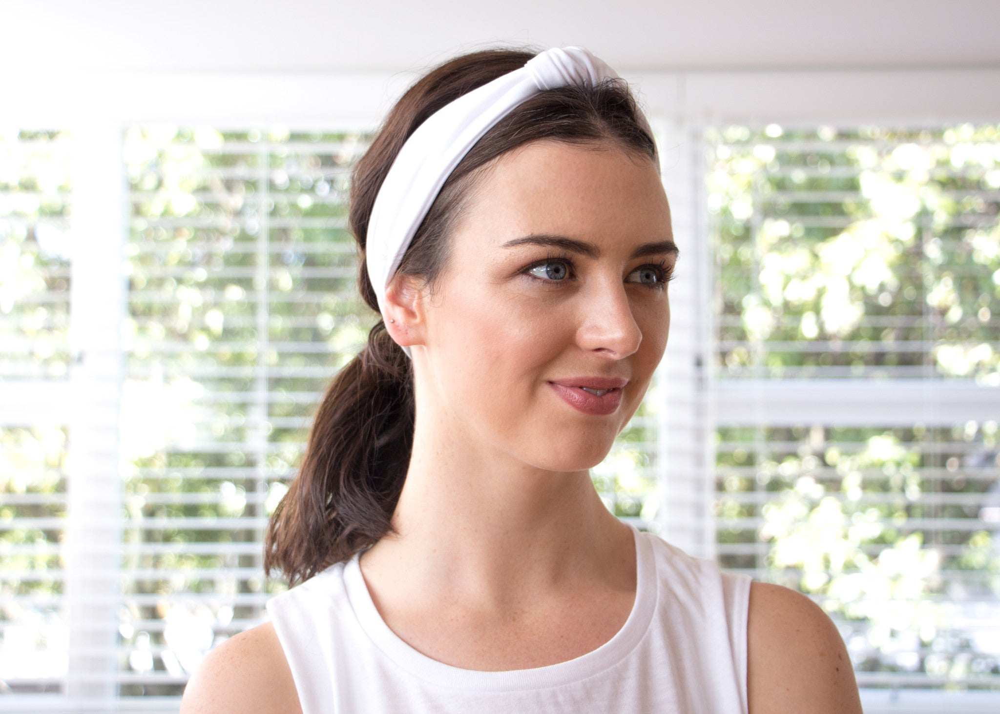 White Cotton Lycra - Headband
