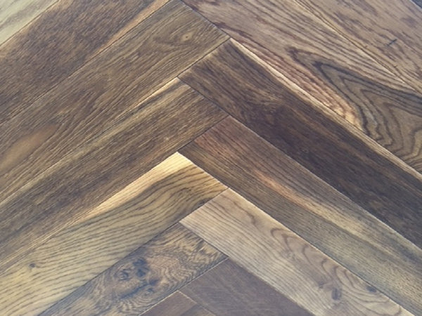 Engineered, Double smoked, Lacquered Herringbone Oak Flooring, £47.46m2 - Shropshire Oak Wood Flo...