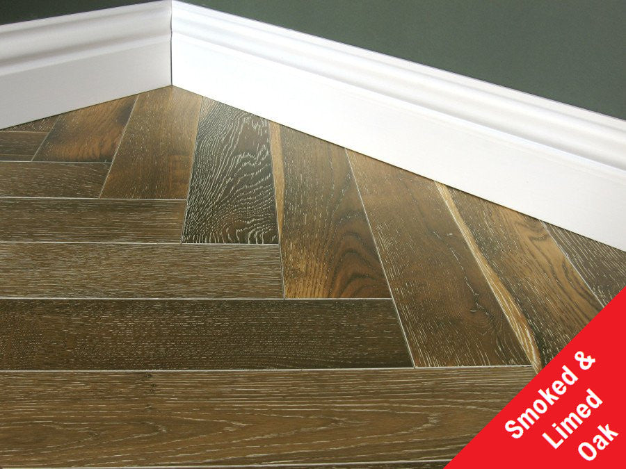 Engineered Lacquerd, Smoked, Limed Herringbone Oak Flooring, £49.06m2 - Shropshire Oak Wood Floor...
