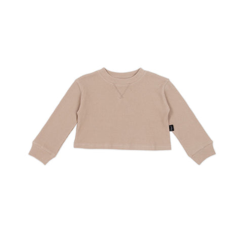 KAPOWKIDS | Cropped Sweater - Biscuit Waffle