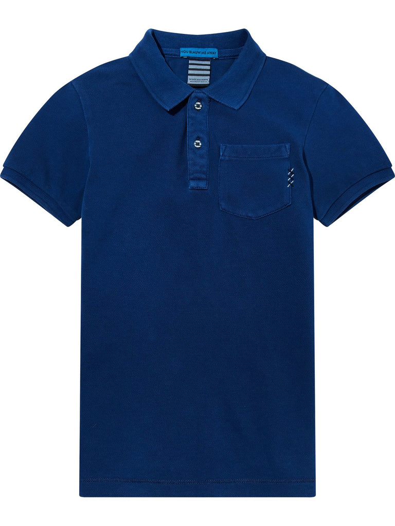 S18 SCOTCH SHRUNK - Blue Garment Dye Polo (2365157736508)