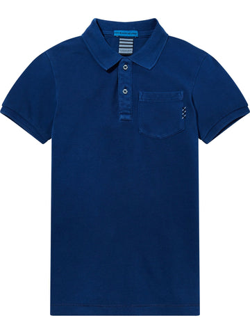 S18 SCOTCH SHRUNK - Blue Garment Dye Polo