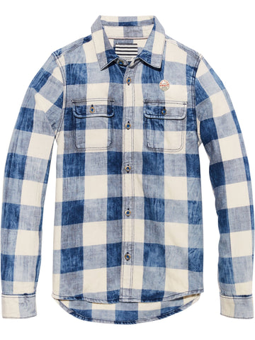 S18 SCOTCH SHRUNK - Checked Indigo Shirt