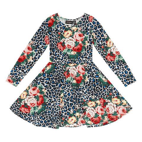 ROCK YOUR BABY | Blue Leopard Floral L/S Waisted Dress