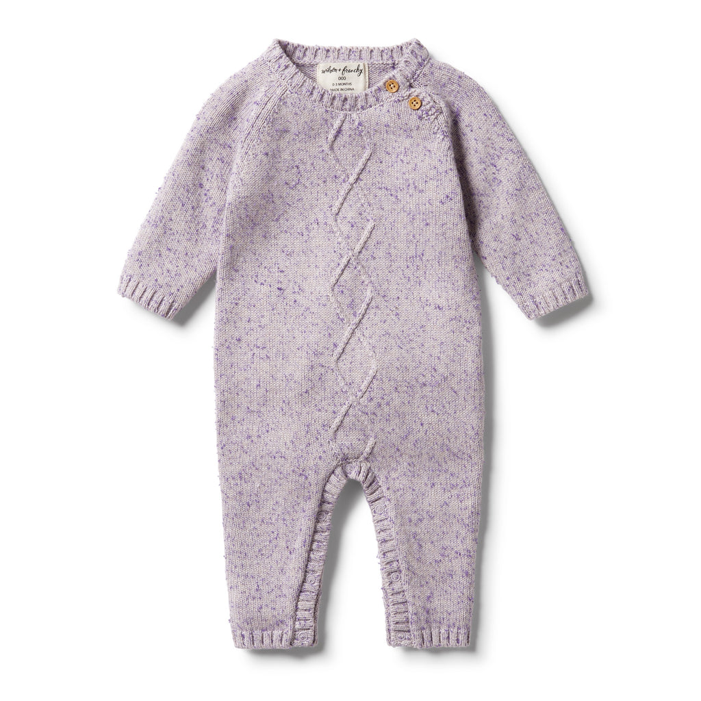 WILSON & FRENCHY | Knitted Cable Ruffle Growsuit - Royal Purple Fleck