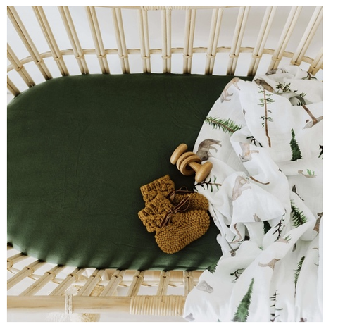 SNUGGLE HUNNY | Olive Bassinet Sheet/Change Pad Cover