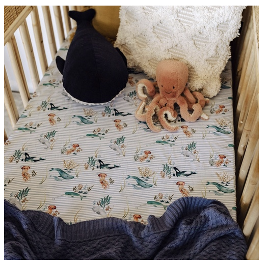 SNUGGLE HUNNY | Whale Fitted Cot Sheet