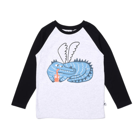 MINTI | Chilled Dragon Tee - White Marle/Black