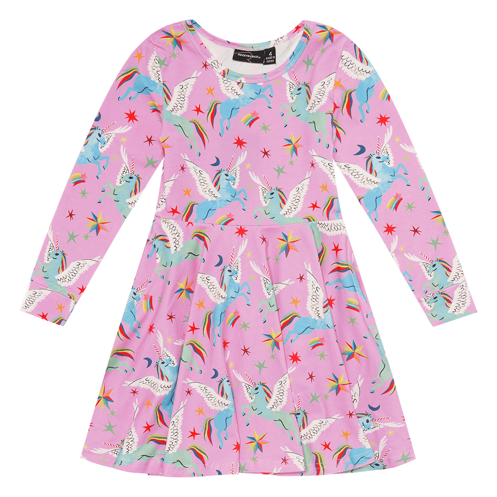 ROCK YOUR BABY | Rainbow Pegasus L/S Waisted Dress