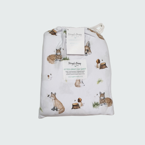 SNUGGLE HUNNY | Fitted Cot Sheet - Fox