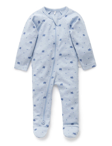 PUREBABY | Zip Growsuit - Pale Blue Leaf