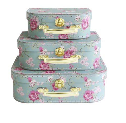 ALIMROSE | Kids Carry Case 3pc Aqua Cottage Rose