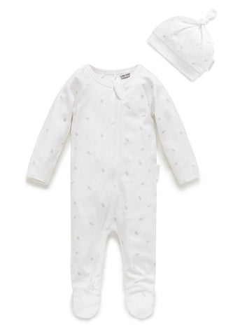 PUREBABY | Zip Growsuit & Hat Pack - Pale Grey