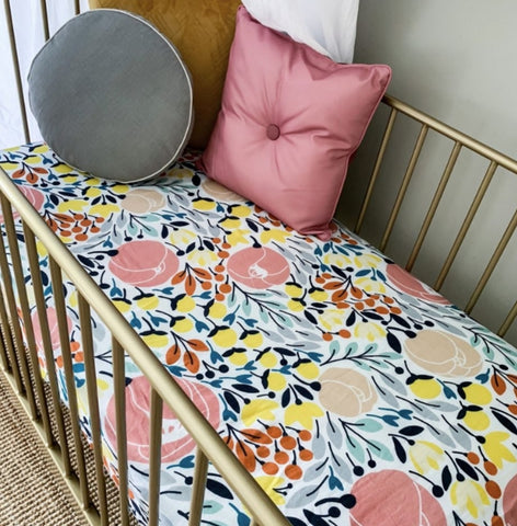 POP YA TOT - Billie Blossom Muslin Cot Sheets